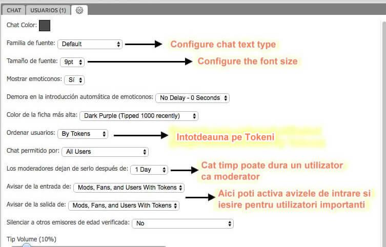Configurați camera de chat