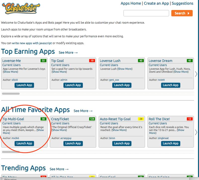 Panel con aplicaciones de Chaturbate
