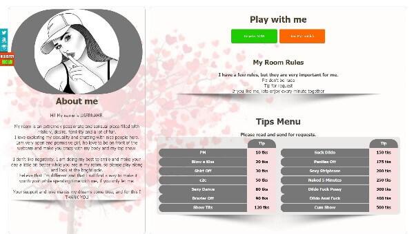 Diseño 12 – perfil Chaturbate ya creado