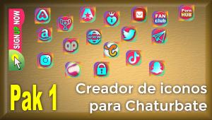 Pak 1 – Creador de iconos y botones de redes sociales para Chaturbate