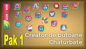 Pak 1 – Creator de butoane și pictograme social media pentru Chaturbate