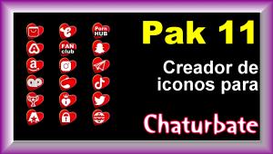Pak 11 – Creador de iconos y botones de redes sociales para Chaturbate