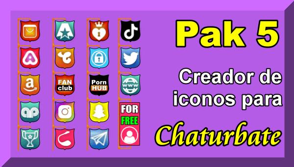 Pak 5 – Creador de iconos y botones de redes sociales para Chaturbate