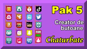 Pak 5 – Creator de butoane și pictograme social media pentru Chaturbate