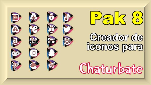 Pak 8 – Creador de iconos y botones de redes sociales para Chaturbate