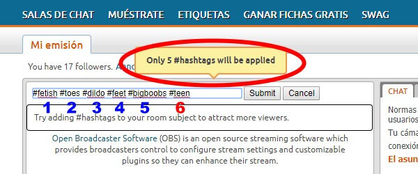Como se usan las etiquetas hashtag en Chaturbate 4