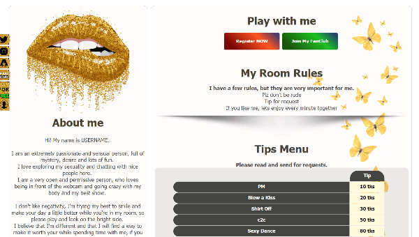 Design 26 – Chaturbate BIO profile already created