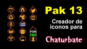 Pak 13 – Creador de iconos y botones de redes sociales para Chaturbate
