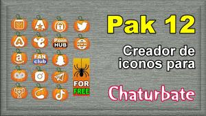 Pak 12 – Creador de iconos y botones de redes sociales para Chaturbate