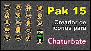 Pak 15 – Generador de iconos y botones de redes sociales para Chaturbate