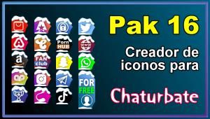 Pak 16 – Generador de iconos y botones de redes sociales para Chaturbate