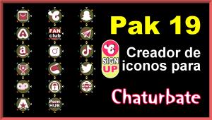 Pak 19 – Generador de iconos y botones de redes sociales para Chaturbate