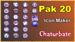 Pak 20 – FREE Chaturbate Social Media Button and Icon Maker