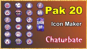Pak 20 – FREE Chaturbate Social Media Button and Icon Maker