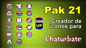 Pak 21 – Generador de iconos y botones de redes sociales para Chaturbate