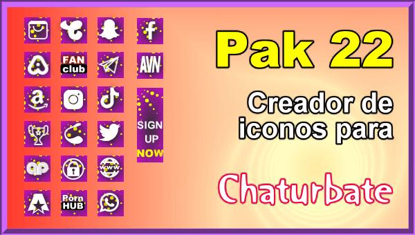 Pak 22 - Generador de iconos y botones de redes sociales para Chaturbate