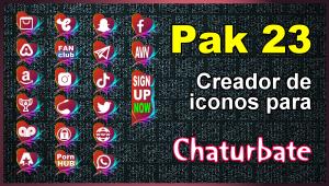 Pak 23 – Generador de iconos y botones de redes sociales para Chaturbate