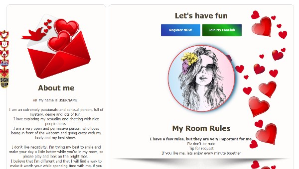 Design 47 – Chaturbate BIO profile already created