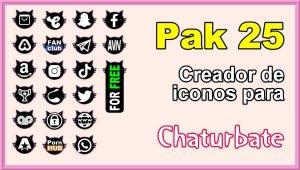 Pak 25 – Generador de iconos y botones de redes sociales para Chaturbate