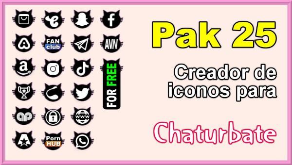 Pak 25 - Generador de iconos y botones de redes sociales para Chaturbate