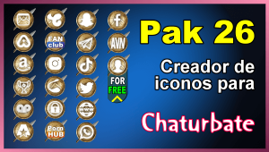 Pak 26 – Generador de iconos y botones de redes sociales para Chaturbate