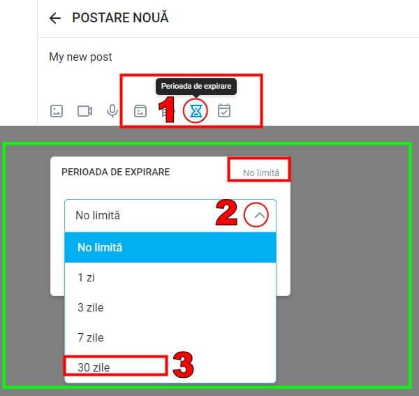 Configurați publicația astfel încât să fie șters automat