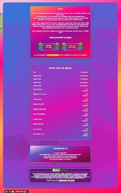 demo Diseño 72 - perfil de Chaturbate